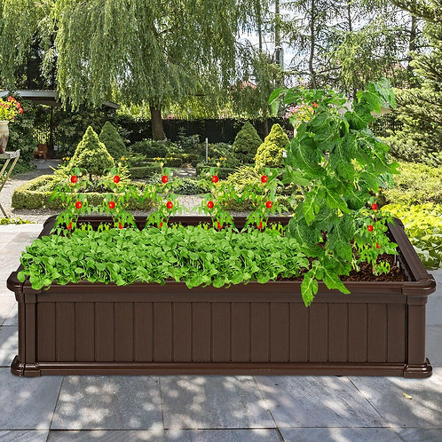 2 PCS Raised Garden Rectangle Plant Box-Brown