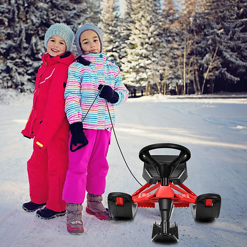Snow Sled w/ Steering Wheel & Double Brakes Pull Rope Slider