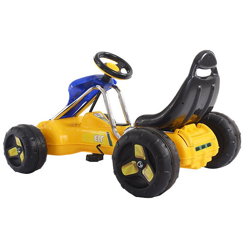 Go Kart Kids Ride Car Pedal Powered Car 4 Wheel Racer Toy Stealth Outdoor-Yellow
