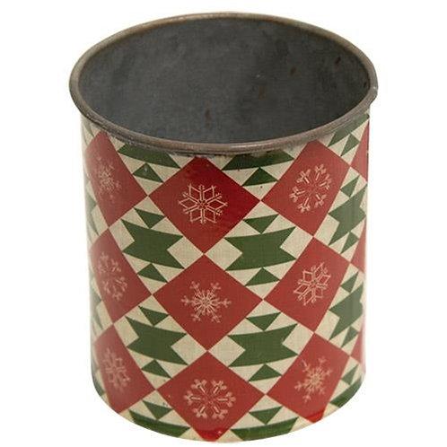 Vintage Christmas Pattern Metal Can