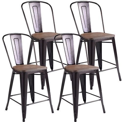 Set of 4 Rustic Metal Wood Bar Chairs with Seat-Wood