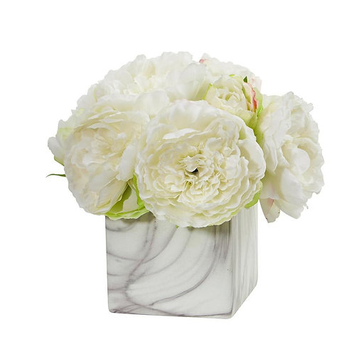 Peony Artificial Arrangement in Marble Finished Vase