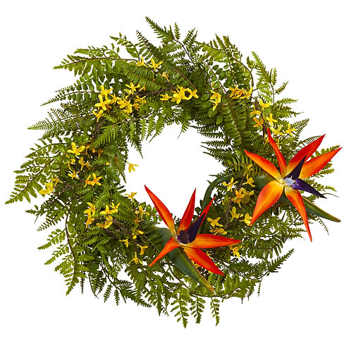 """24"""" Mixed Fern, Forsythia and Bird of Paradise Artificial Wreath"""