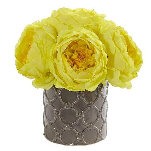 Large Rose Artificial Arrangement in Gray Vase