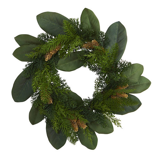 """16"""" Magnolia Leaf and Mixed Pine Artificial Wreath with Pine Cones"""