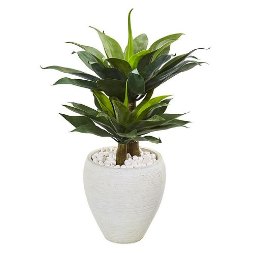 "33""  Double Agave Succulent Artificial Plant in White Planter"
