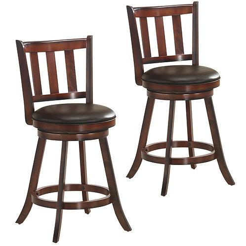 "Set of 2 25"" Bistro Leather Padded Swivel Bar stool"