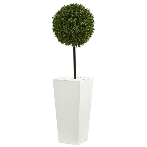 3.5' Boxwood Ball Topiary Artificial Tree in White Tower Planter UV Resistant