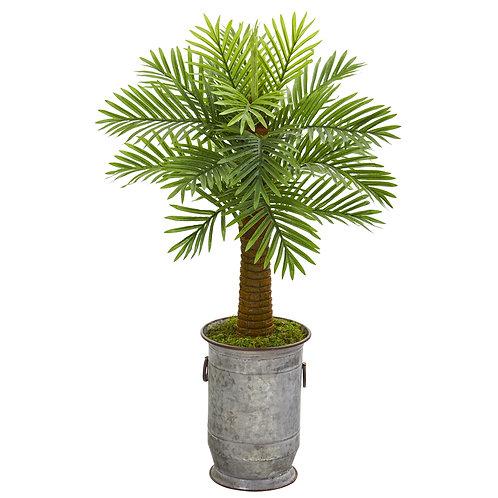 "42"" Robellini Palm Artificial Tree in Vintage Metal Planter"