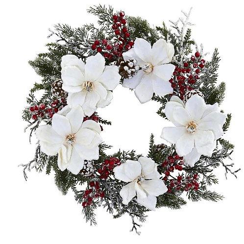 "22"" Snowed Magnolia & Berry Wreath"