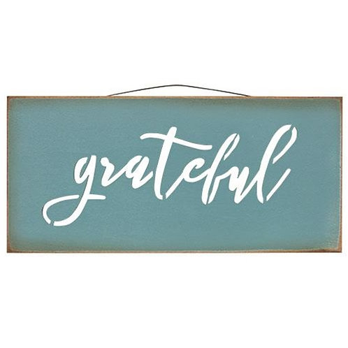 Pack of 2 Grateful Cutout Wood Sign