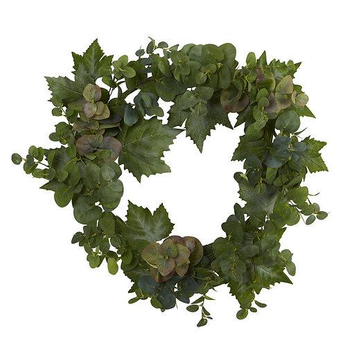 "24"" Grape Leaf and Eucalyptus Artificial Wreath"