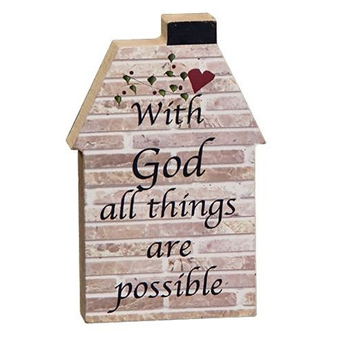 Pack of 4 With God House Block
