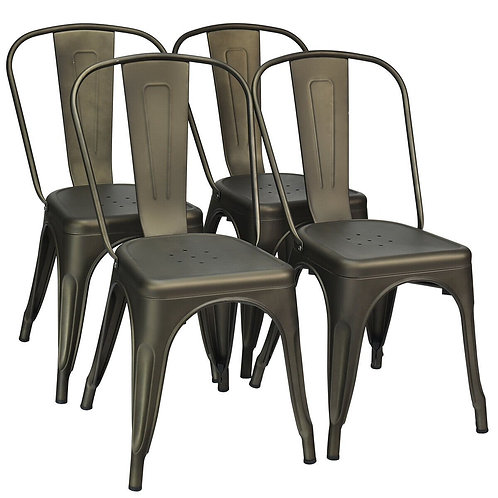 Set of 4 Dining Side Stackable Cafe Metal Chairs-Gun