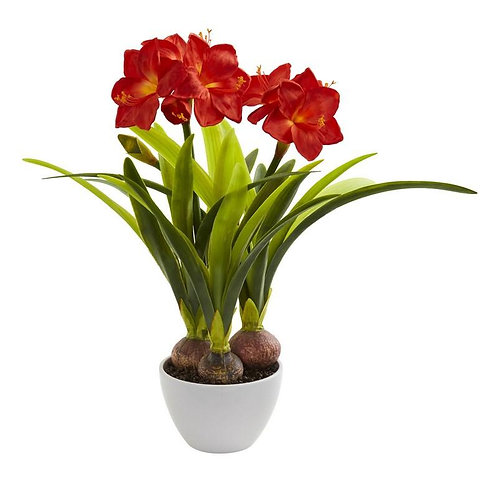 Amaryllis Artificial Arrangement in White Vase