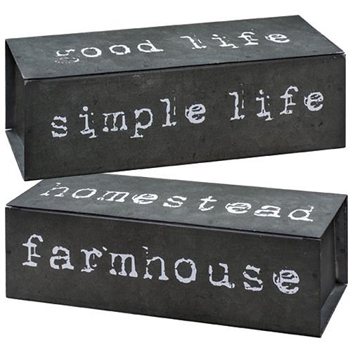 Pack of 2 Farmhouse Four-Sided Metal Block