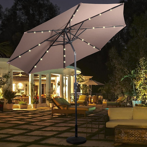 10' Hanging Umbrella Patio Sun Shade Offset Outdoor Market W/T Cross Base GOPLUS