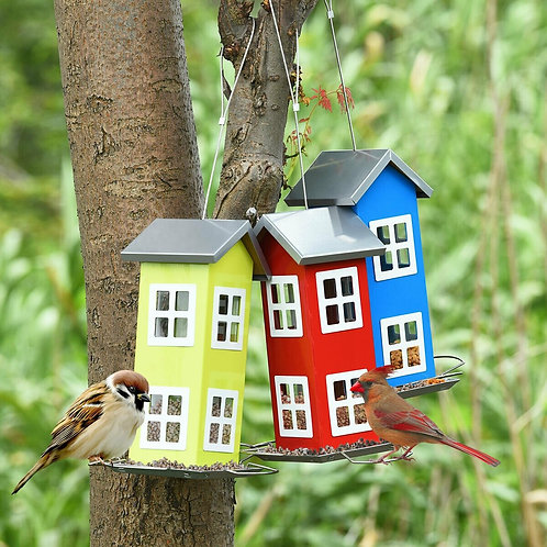 Outdoor Garden Yard  Wild Bird Feeder Weatherproof House-Green