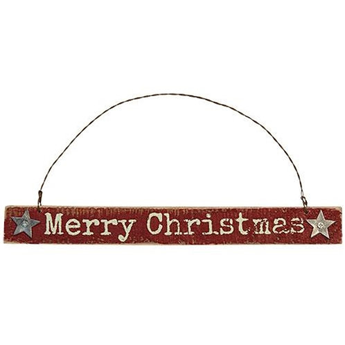 Merry Christmas Sign Ornament w/Rusty Wire Hanger
