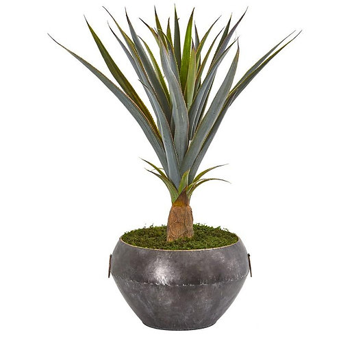 2.5' Agave Artificial Plant in Metal Bowl
