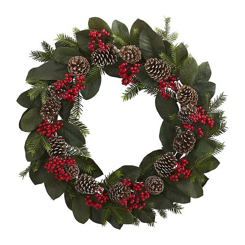 "30""  Magnolia Leaf, Berry, Pine and Pine Cone Artificial Wreath"