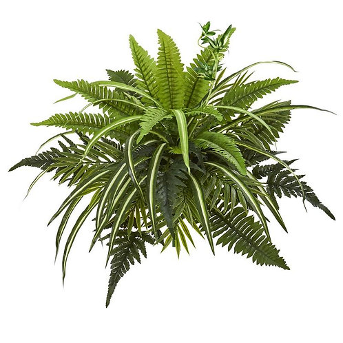 """22""""  Mixed Greens and Fern Artificial Bush Plant (Set of 3)"""