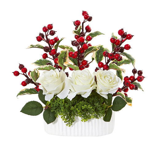"""12"""" Rose and Holly Berry Artificial Arrangement in White Vase"""