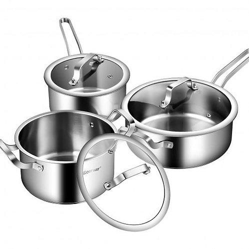 6 Piece Stainless Steel Cookware Set Nonstick Pot