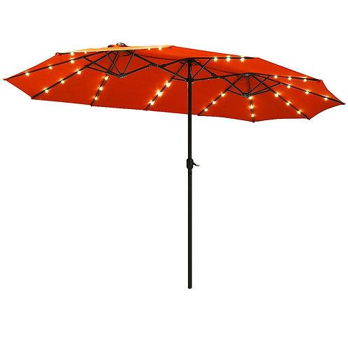 15 Ft Patio LED Crank Solar Powered 36 Lights  Umbrella-Orange
