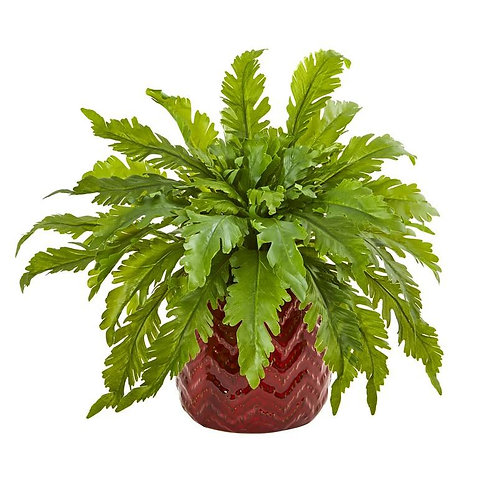 """14""""  Fern Artificial Plant in Red Vase"""