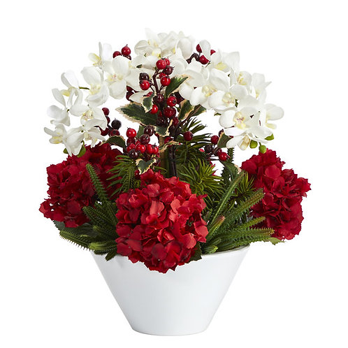 """18"""" Phalaenopsis Orchid, Hydrangea, Cactus / Holly Berry Artificial Arrangement"""
