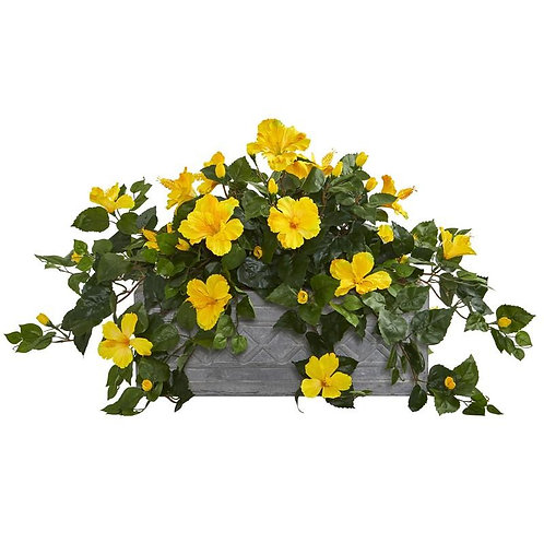 Hibiscus Artificial Plant in Stone Planter