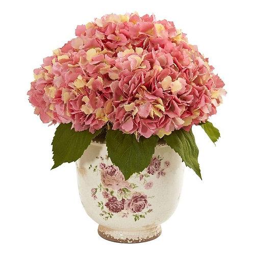 Giant Hydrangea Artificial Arrangement in Floral Printed Vase