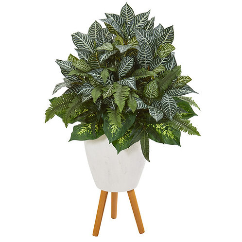 "37"" Mixed Greens Artificial Plant in White Planter with Stand"