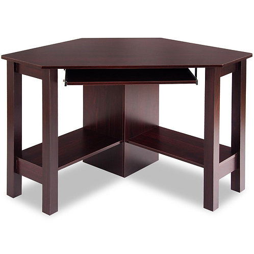 Wooden Study Computer Corner Desk with Drawer-Coffee