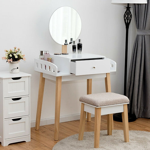 Wooden Makeup Dressing Mirror Table Set with Drawer