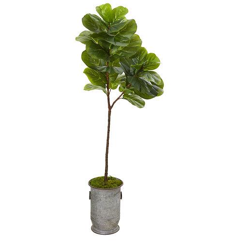 "64"" Fiddle Leaf Artificial Tree in Vintage Metal Planter"