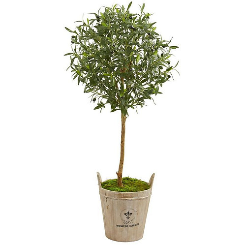 46' Olive Artificial Tree in Farm House Planter