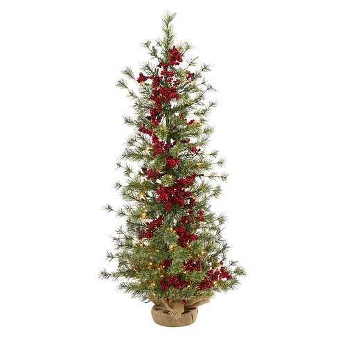 4' Berry and Pine Artificial Christmas Tree with 100 Warm White Lights