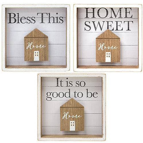 *Bless this Home Shadow Box Sign 3 Asst. (Pack of 2)
