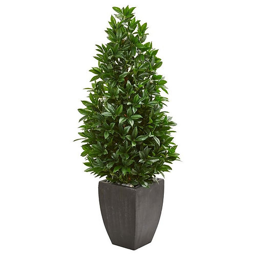 "56""  Bay Leaf Cone Topiary Artificial Tree UV Resistant in Black Planter"