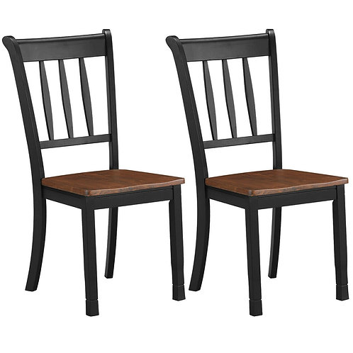 2 Pcs Solid Whitesburg Dining Chairs Spindle Back Wood Seating-Black