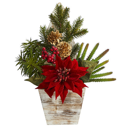 "15"" Poinsettia, Cactus and Succulent Artificial Arrangement in Christmas Tree"