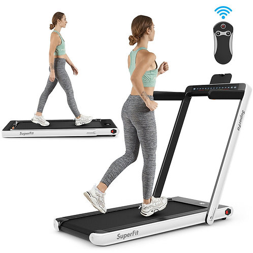 2 in 1 Folding Treadmill Dual Display with Bluetooth Speaker-White