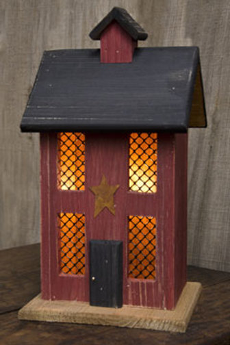 Lighted House w/Chimney & Star