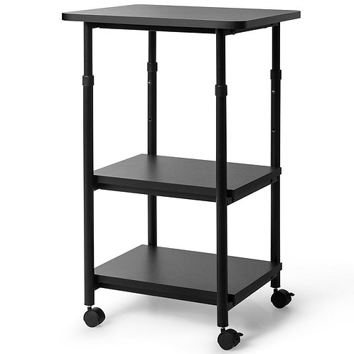 3-tier Adjustable Printer Stand with 360? Swivel Casters-Black