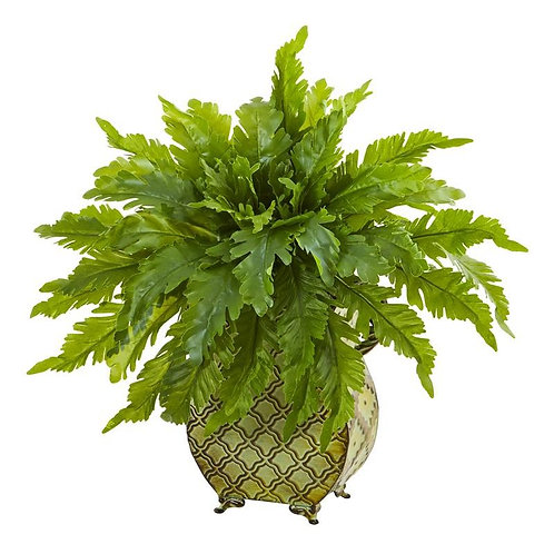 "18""  Fern Artificial Plant in Metal Planter"
