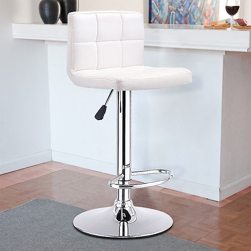 1 PC Bar Stool Swivel Adjustable PU Leather Barstools Bistro Pub Chair-White