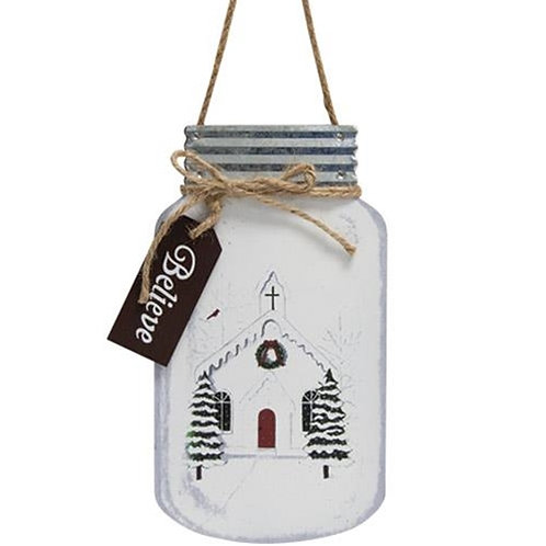 Christmas Church Mason Jar Hanger