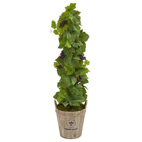 3.5' Grape Artificial Plant in Barrel Planter